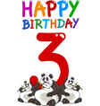third birthday anniversary card vector image vector image