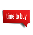 time to buy red 3d speech bubble vector image vector image