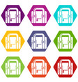 travel bag retro icons set 9 vector image vector image