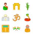 yoga place icons set cartoon style vector image