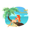 young sexy girl in red bikini sitting on palm tree vector image vector image
