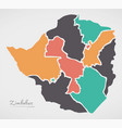 zimbabwe map with states and modern round shapes vector image