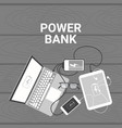 power bank concept set of devices charging from vector image