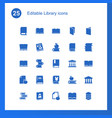 25 library icons vector image vector image