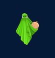 banewborn girl or boy wrapped in green blanket