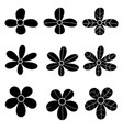 black flower icon on white background vector image vector image