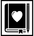 book with heart vector image vector image