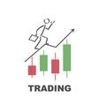 businessman runs to success trading - design vector image vector image