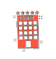 cartoon hotel icon in comic style tower sign vector image vector image