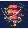 Christmas card with ribbon vector image vector image