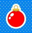 christmas ornament red ball on blue snowy vector image