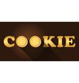 cookie word with top view of cream cookies vector image