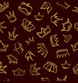 crown pattern textile design golden vector image
