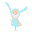 Cute happy bunny in light blue dress vector image