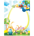 easter with bunny and eggs frame vector image vector image