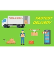 Fastest delivery concept in flat design vector image