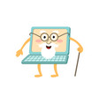 flat old laptop character with beard cane vector image vector image