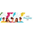 friendship day banner happy young friends vector image vector image