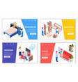 furniture production isometric banners vector image