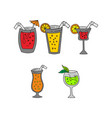 glass drinking cocktail template vector image