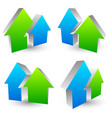 icon logo symbol with 2 overlapping house shapes vector image