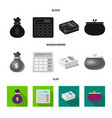 isolated object of bank and money symbol set of vector image