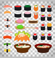japanese food icons on transparent background vector image vector image