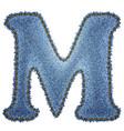 Jeans alphabet Denim letter M vector image vector image