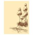 lake or river shore artistic sketch natural vector image vector image