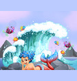 mermaid and fish rocks vector image
