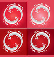 milk circle splash on different red background vector image vector image
