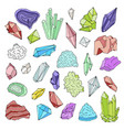 minerals crystals gems isolated color vector image vector image