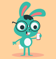 Nerd Bunny Wearing Glasses Talking on the Phone vector image