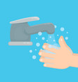pair of hands washing using soap vector image vector image