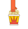 popcorn and hand paper box popped corn vector image vector image