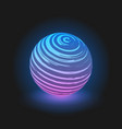 purple with blue glow ball on black background vector image vector image