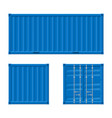 realistic 3d detailed blue cargo container set vector image vector image