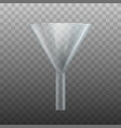 realistic 3d detailed glass laboratory funnel vector image vector image