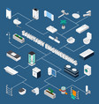 sanitary engineering isometric flowchart vector image