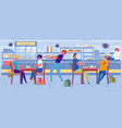 school children in self-service cafe or eatery vector image
