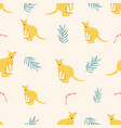 seamless pattern with kangaroos and leaves vector image vector image