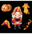 set nutcracker toy and accessories for it 5 icons vector image vector image