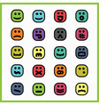 set of colorful cartoon emoji face icons vector image vector image