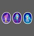 set of cute little mermaids on a dark blue violet vector image