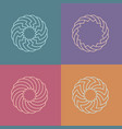 set of round linear pattern logos vector image