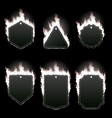 set of six frames surrounded with white flame vector image vector image