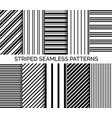 set of striped seamless black and white patterns vector image