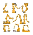 set robotic arms hands robot icons set vector image