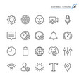 setting line icons editable stroke vector image vector image