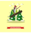 snowboarder jumping in flat vector image vector image